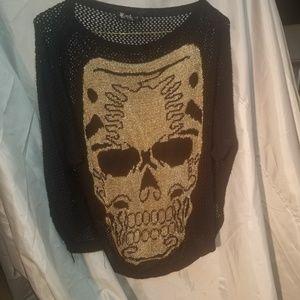 Super cute mesh rocker short sleeve sweater